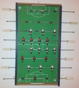 Old fussball table: pre-makeover.