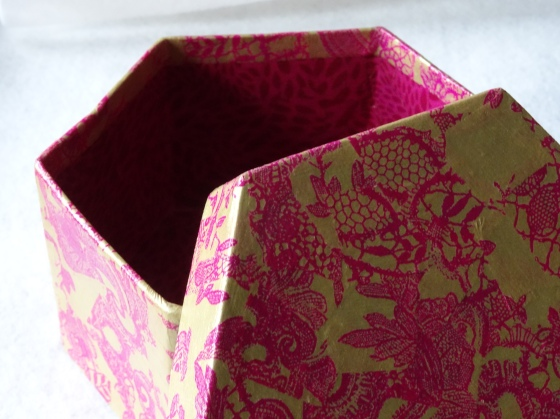 A once-boring box gets the Decopatch treatment as a gift for a friend.