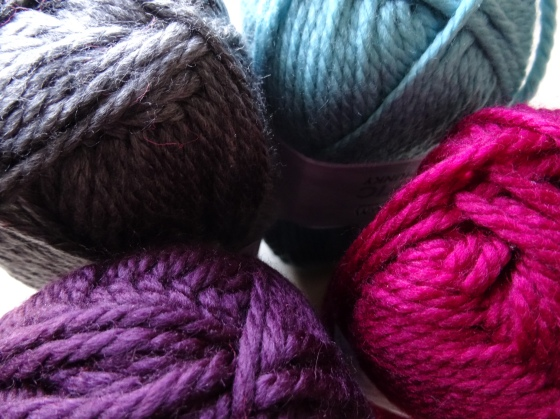 Four of the seven colours I went for: Dusty Turquoise, Beet, Italian Plum and Charcoal. Looking rather lighter and brighter here than they do in real life.